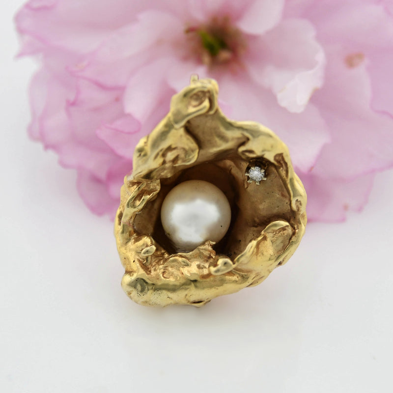 14k Yellow Gold Abstract Clam Shell Pearl & White Sapphire Pendant