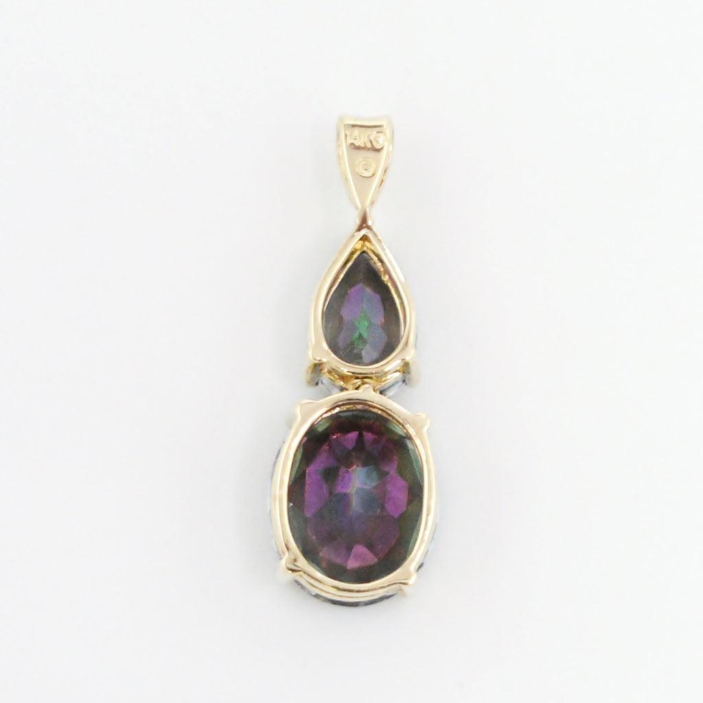 14k Yellow Gold Estate Mystic Topaz Articulated Drop/Dangle Pendant