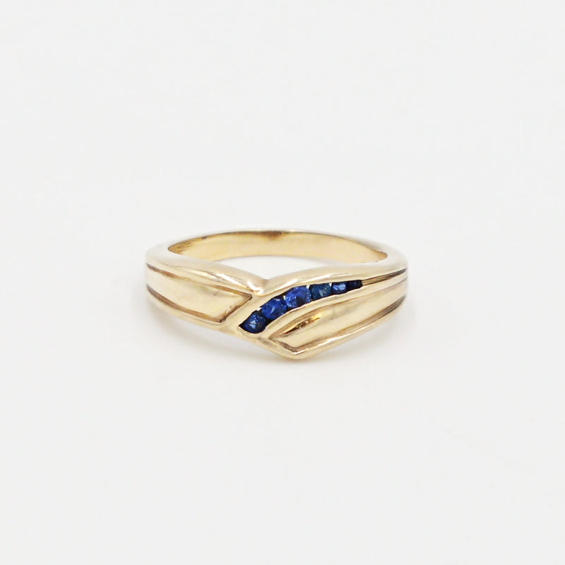 10k Yellow Gold Estate Swirl Sapphire Gemstone Band/Ring Size 6.75