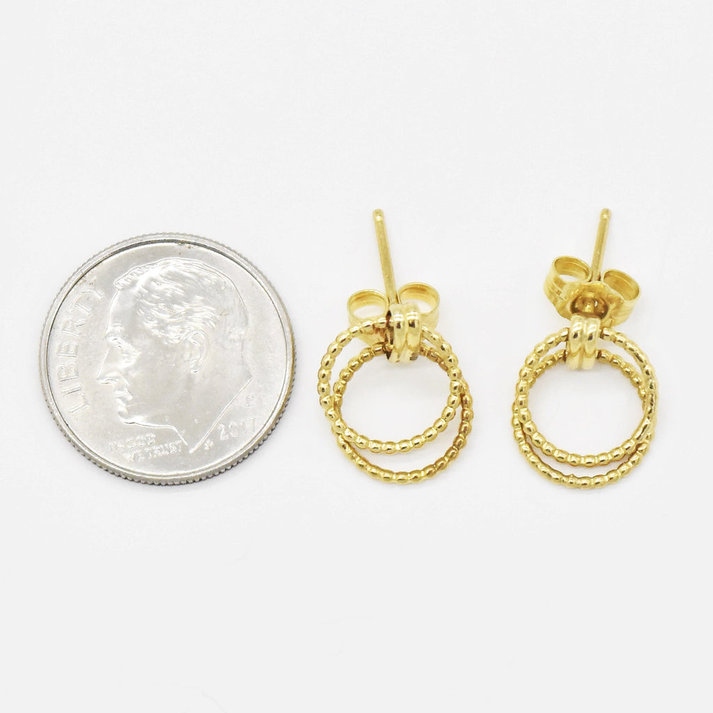 14k Yellow Gold Estate Textured Double Circle Post Earrings