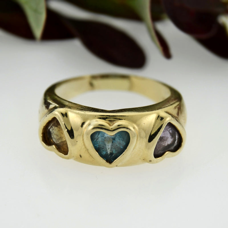 14k Yellow Gold Estate Multi Colored Heart Shape Gemstone Ring Size 8