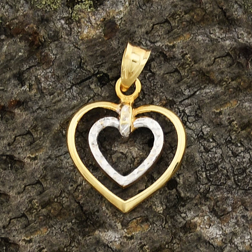 14k Yellow & White Gold Estate Double/Dual Heart/Love Pendant