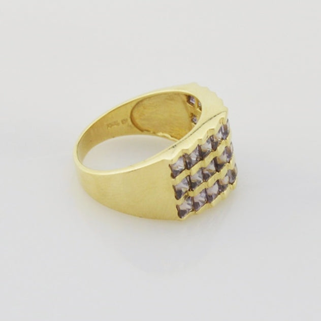 14k Yellow Gold Estate Wide Amethyst Ring Size 8.25