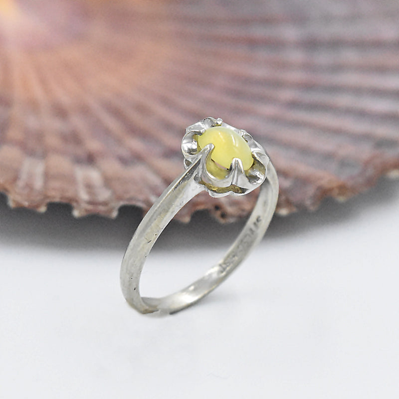 10k White Gold Vintage Cabochon Yellow Sapphire Ring Size 6