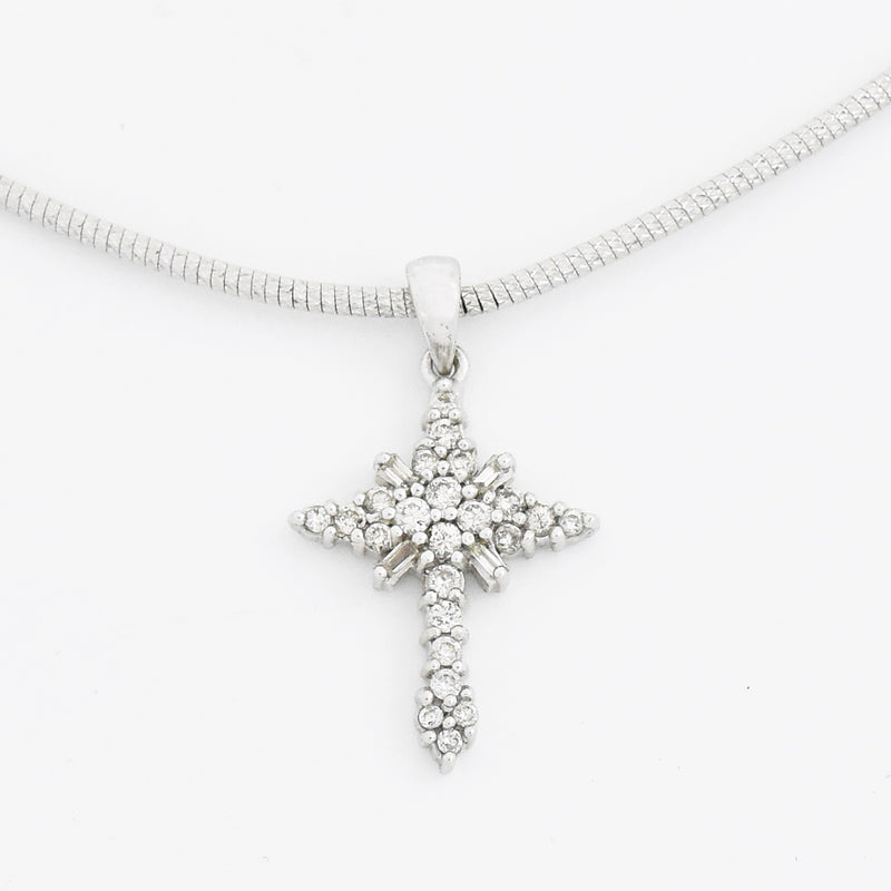 "14k White Gold Estate 16"" Diamond Cross Choker Necklace"