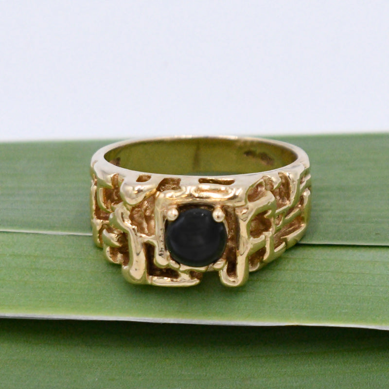 14k Yellow Gold Vintage Abstract Black Star Sapphire Ring Size 9.75