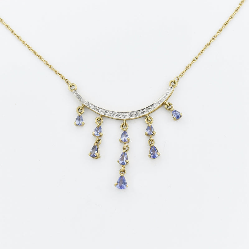 "10k Yellow Gold Estate 19.5"" Tanzanite & Diamond Dangle Necklace"