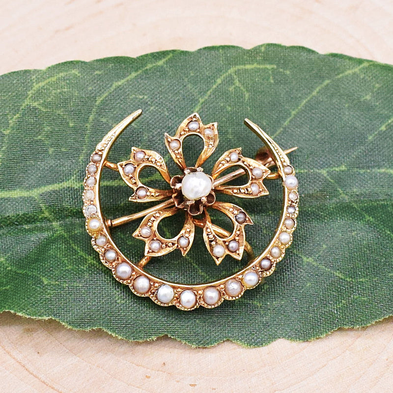 14k YG Antique Horseshoe & Flower Pearl Brooch/Pin