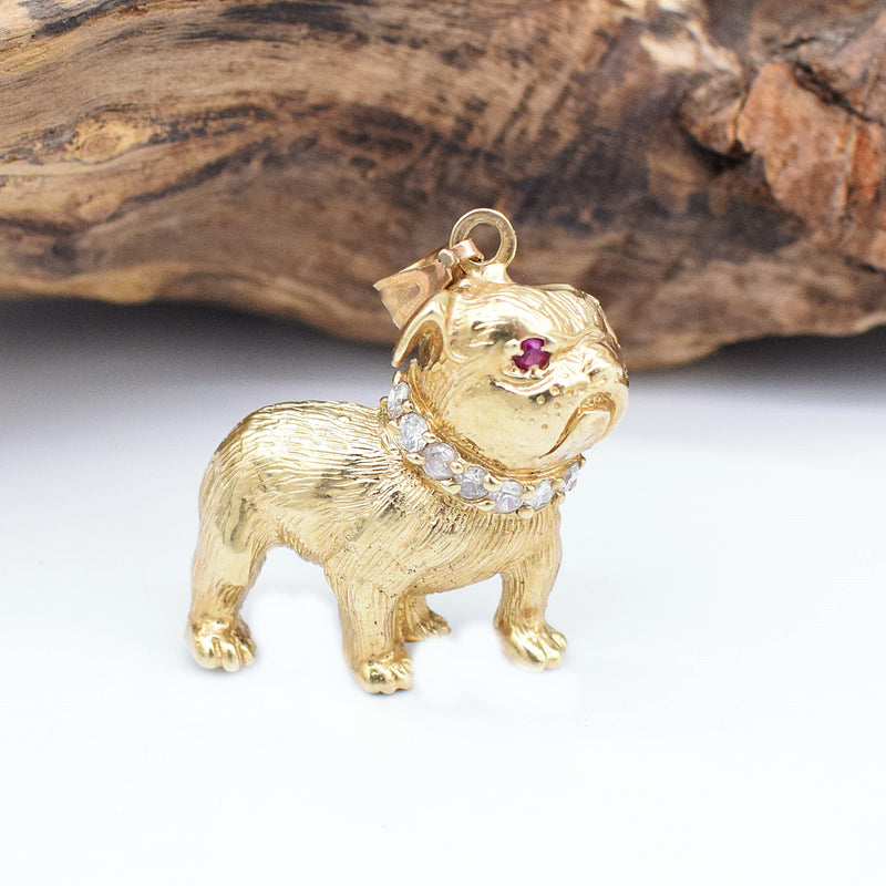 10k YG Ruby & CZ Carved Bulldog Pendant