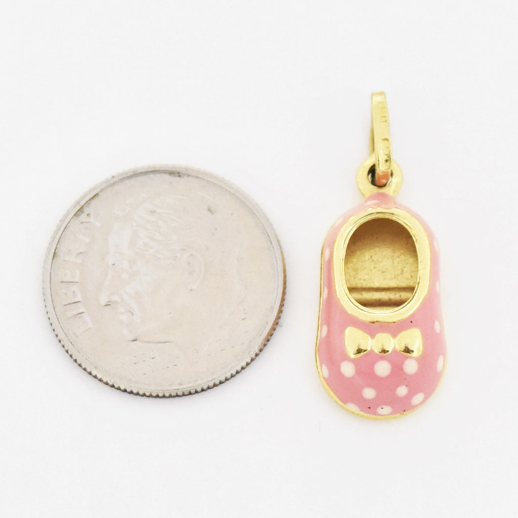 14k Yellow Gold Estate Pink Polka Dotted Baby Shoe Charm/Pendant