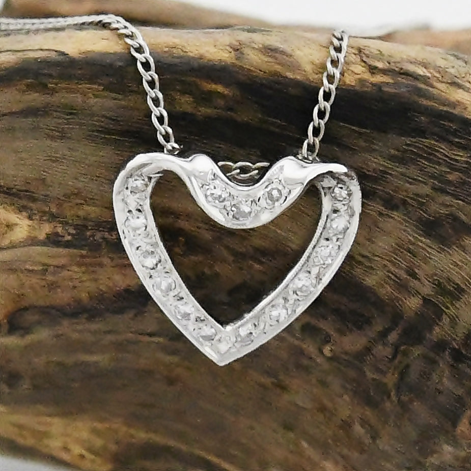 "14k White Gold Estate Diamond Heart/Love Necklace 16 1/2"" Long"