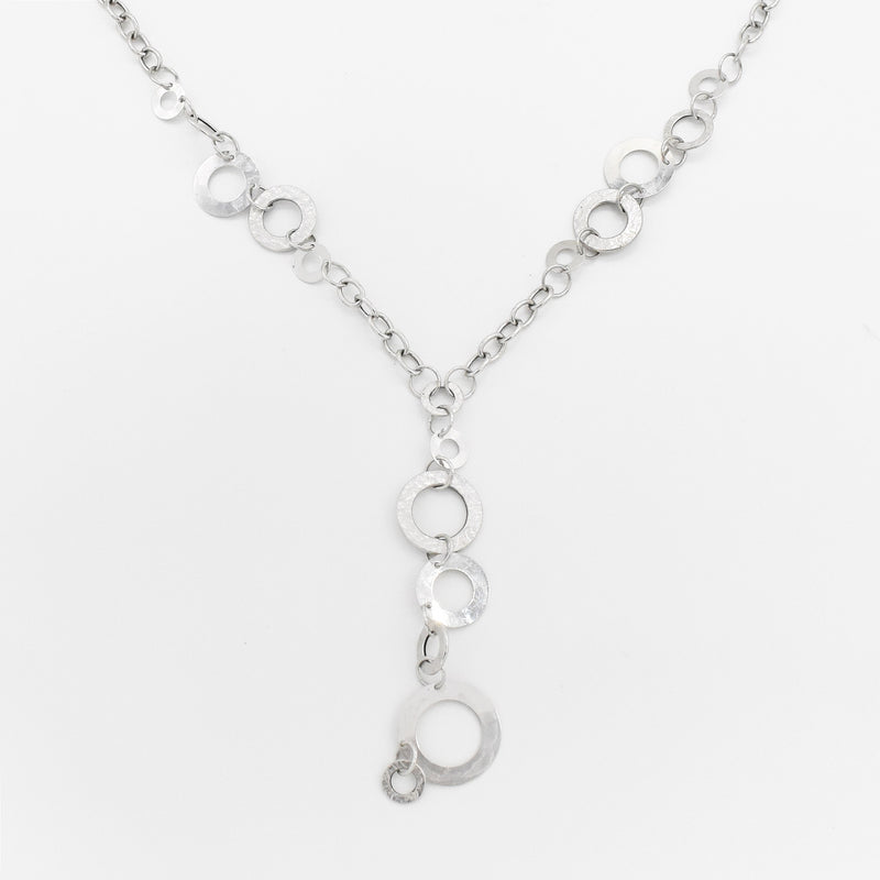 "14k White Gold 17"" Rolo Link Disc Circle Drop/Dangle Necklace"