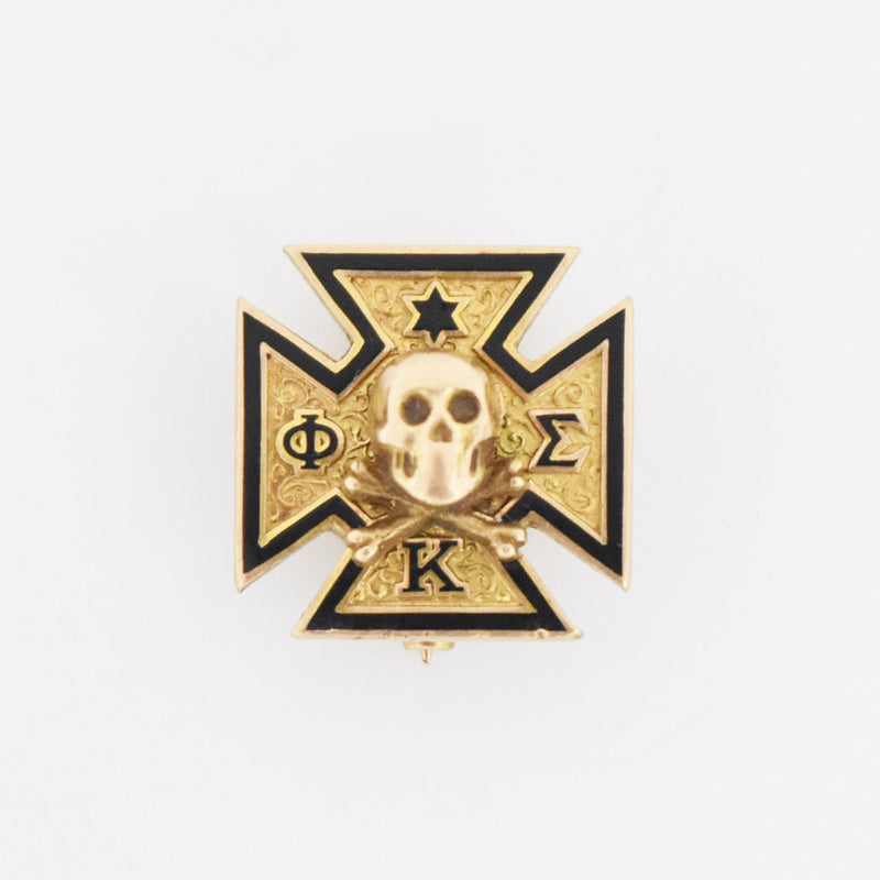 10k Yellow Gold Antique Enamel Skull Theta Sigma Kappa Pin