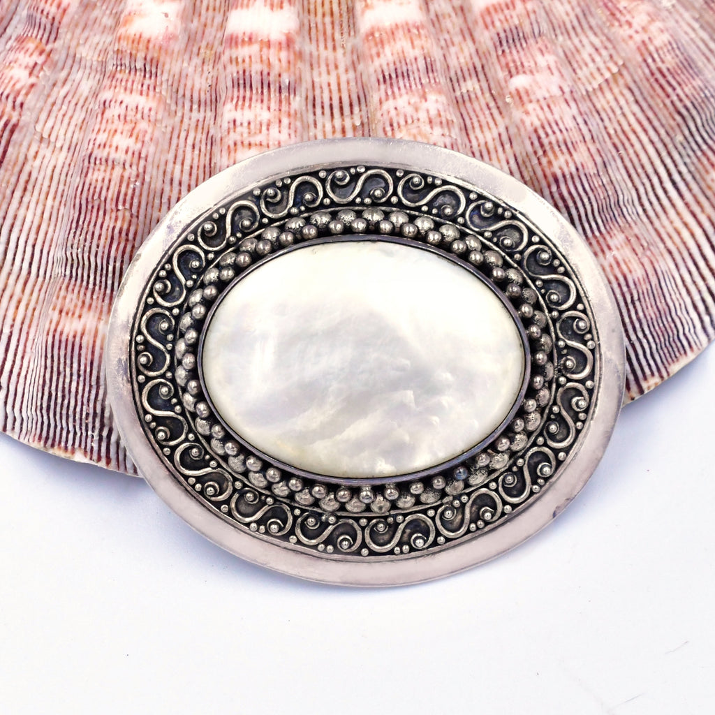 Sterling Silver 925 Ornate Carved Oval Mother Of Pearl Pendant