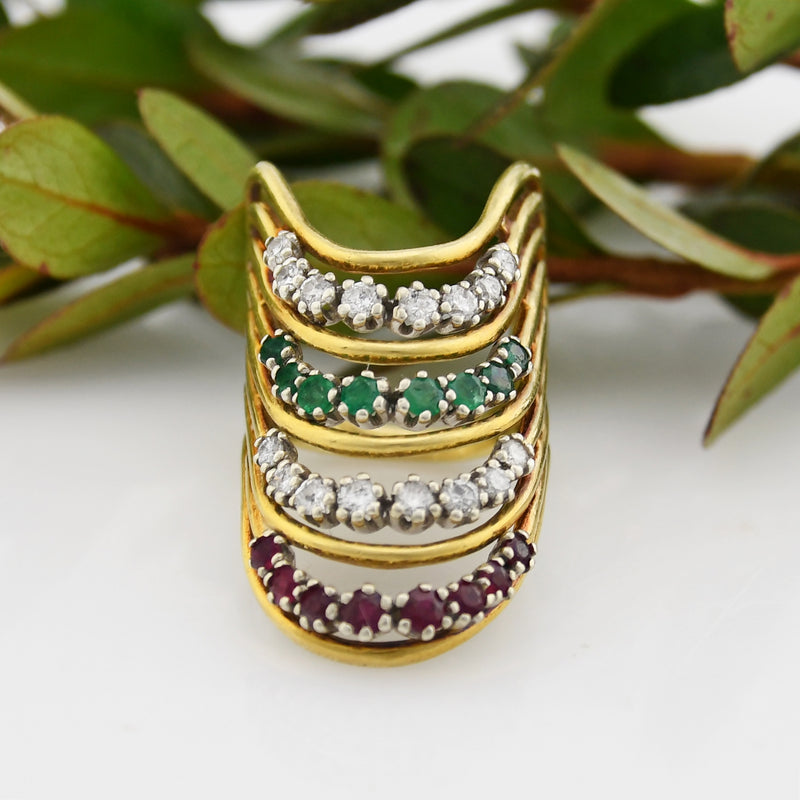 18k YG Vintage Curved Diamond Emerald & Ruby Ring .80 tcw Size 6.5