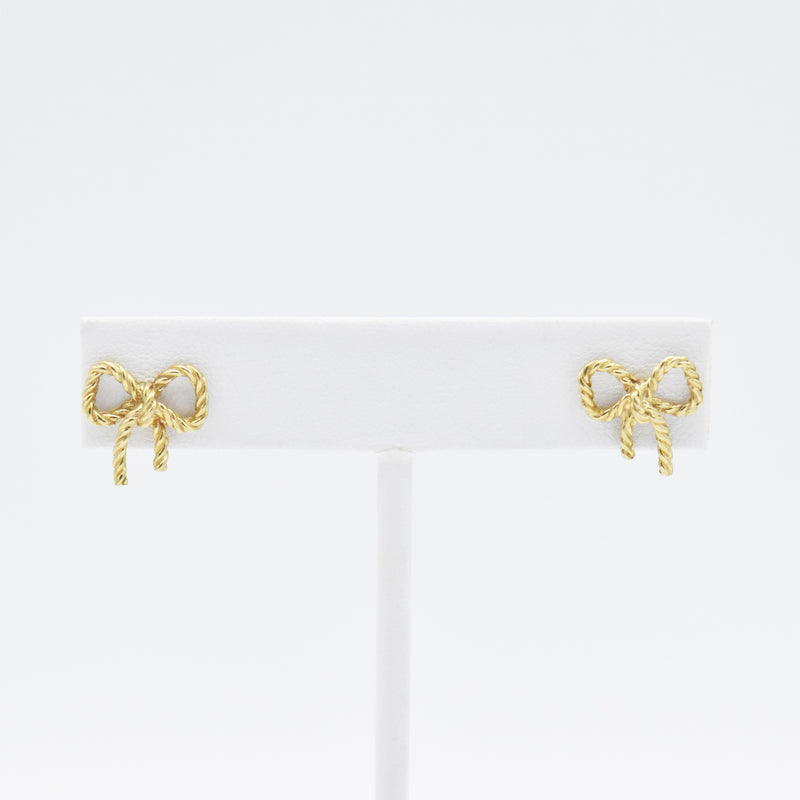 14k Yellow Gold Estate Textured Bow Post Earrings