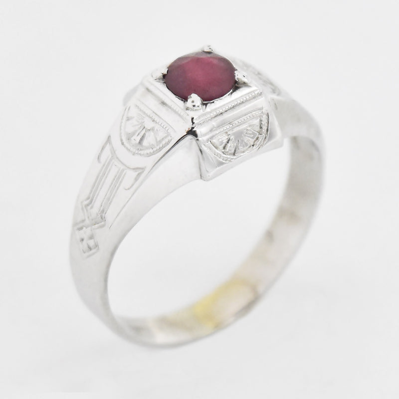 18k White Gold Vintage Ornate Ruby Ring Size 8