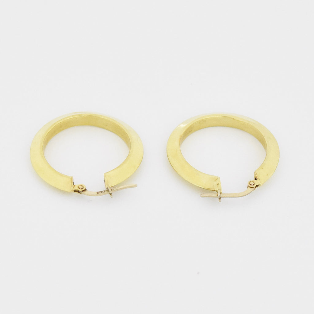 "14k Yellow Gold Estate 1"" Hoop Earrings"