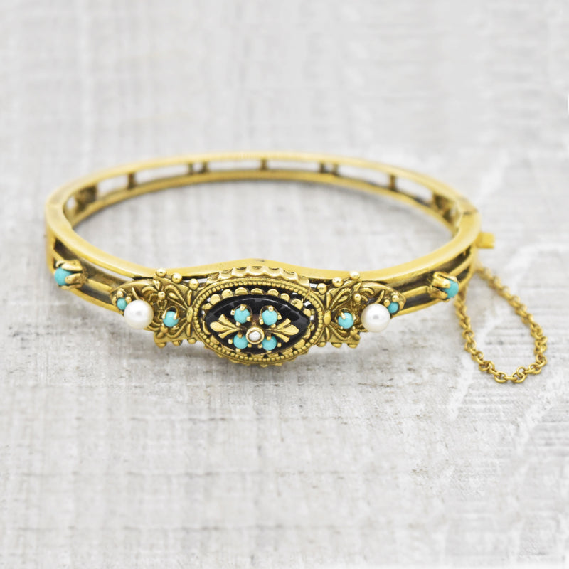 14k Yellow Gold Antique Ornate Turquoise Pearl & Onyx Hinged Bracelet