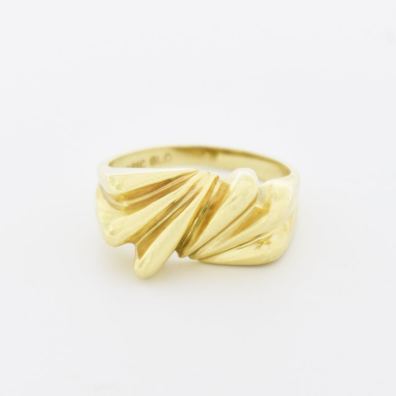 14k Yellow Gold Estate Modern Style Textured Swirl Ring Size 6.75