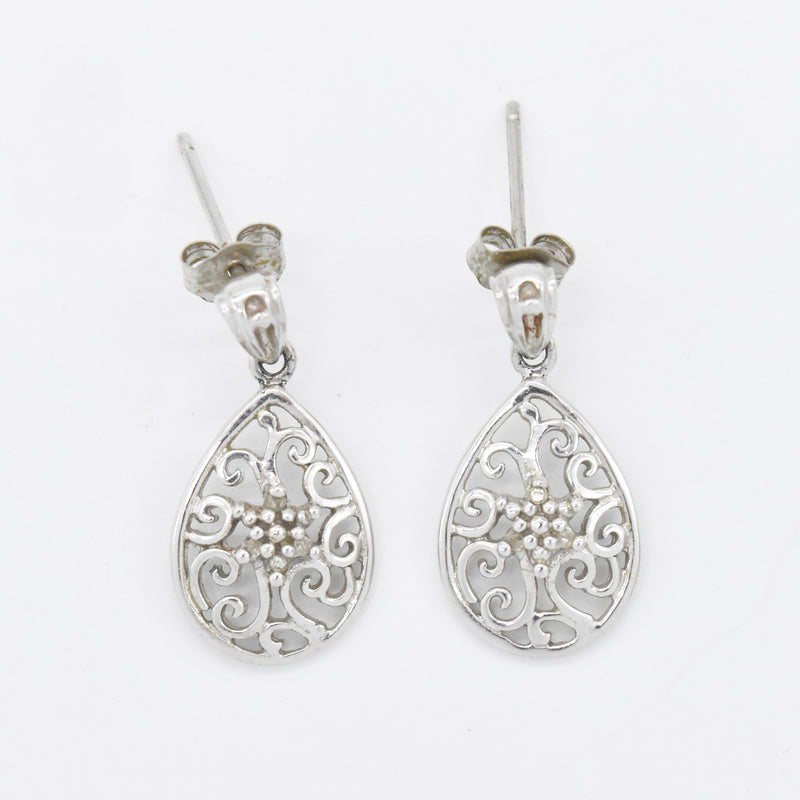 10k White Gold Estate Filigree White Sapphire Teardrop/Pear Earrings