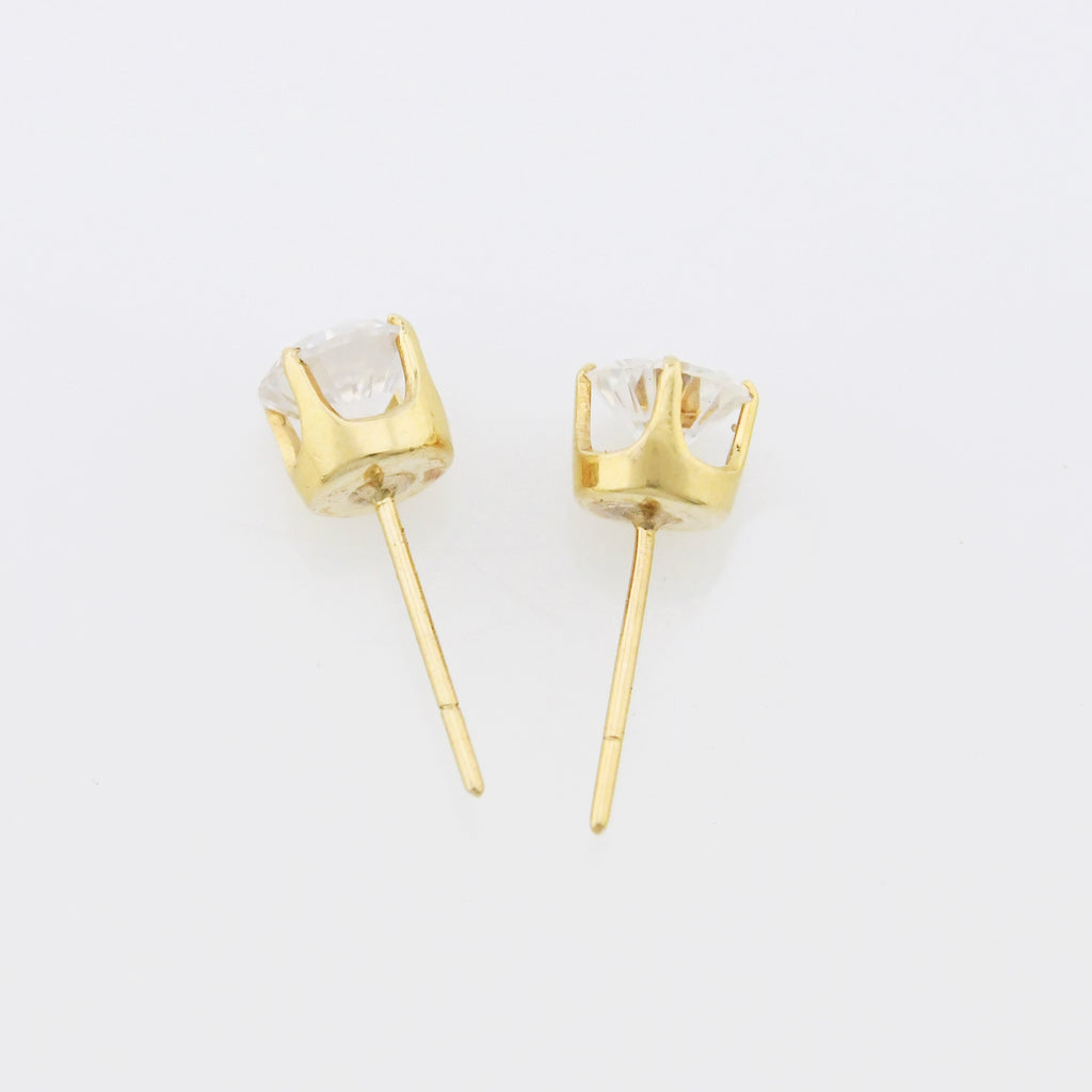 14k Yellow Gold Estate CZ Stud Earrings