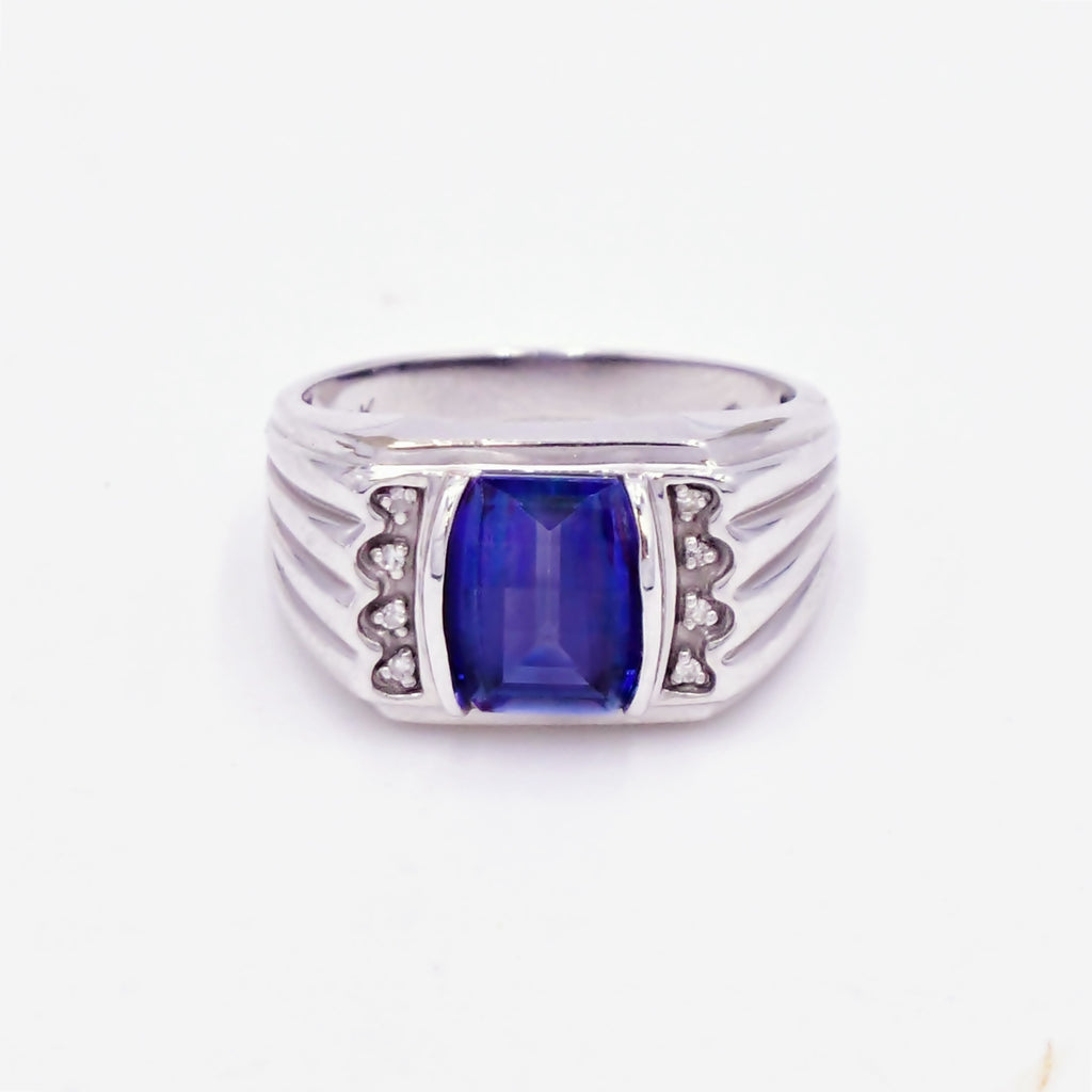 10k White Gold Antique Color Changing Sapphire & Diamond Ring Sz 10.5