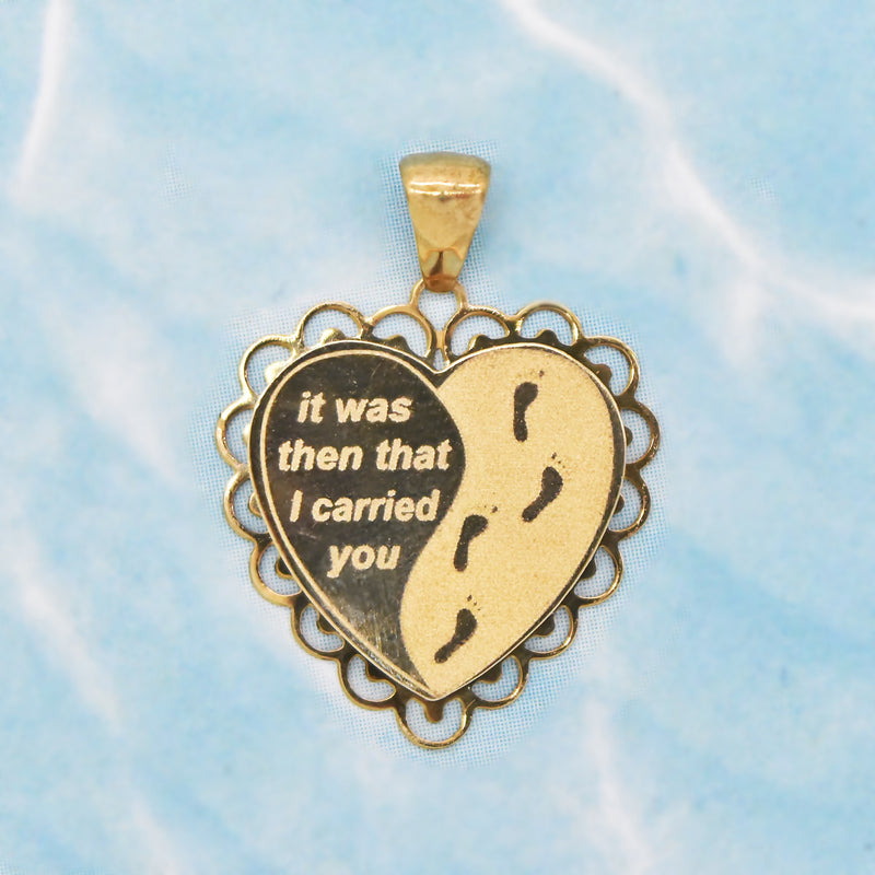 14k Yellow Gold Estate Inspirational Engraved Heart Pendant