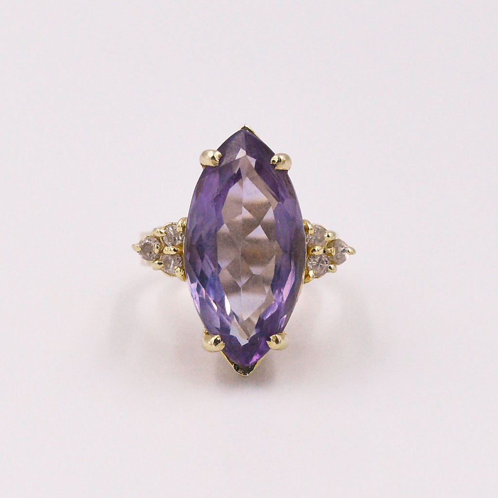 14k YG Estate Large Amethyst & Diamond Cocktail Ring Size 7.25