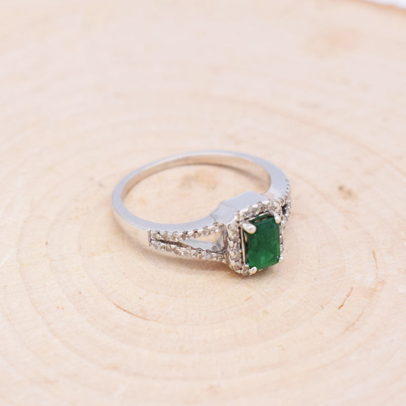 14k WG Open Band Emerald & Diamond 0.46 tcw Ring Size 7