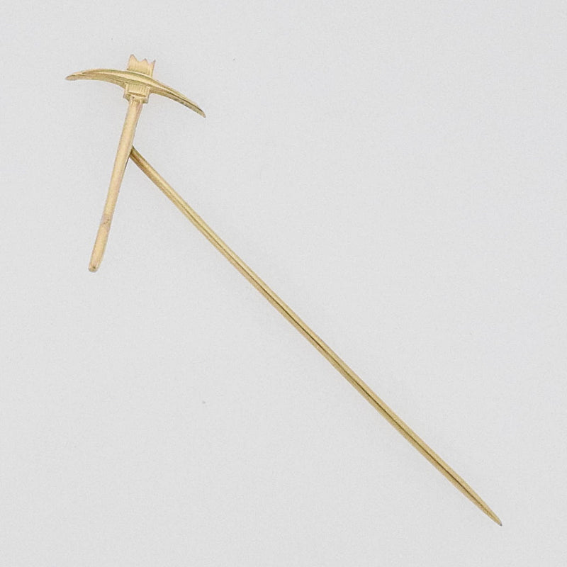 14k Yellow Gold Vintage Miners Pick Axe Stick Pin