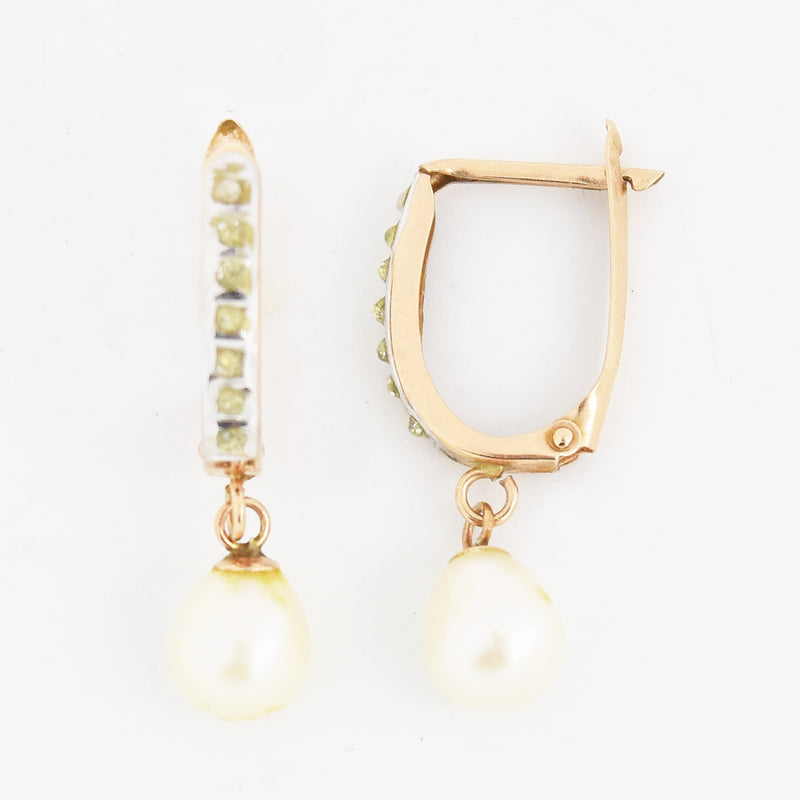 14k Rose Gold Estate Pearl & Yellow Stone Leverback Earrings