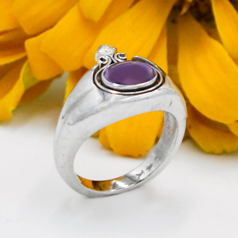 14k White Gold Estate Cabochon Amethyst & Diamond Ring Size 6