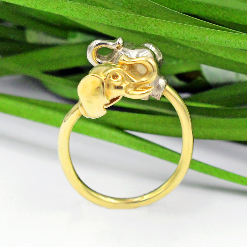 14k Yellow & White Gold Estate Elephant Animal Ring Size 7.75