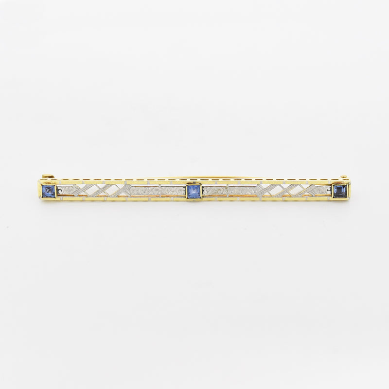14k Yellow & White Gold Antique Filigree Sapphire Bar Pin