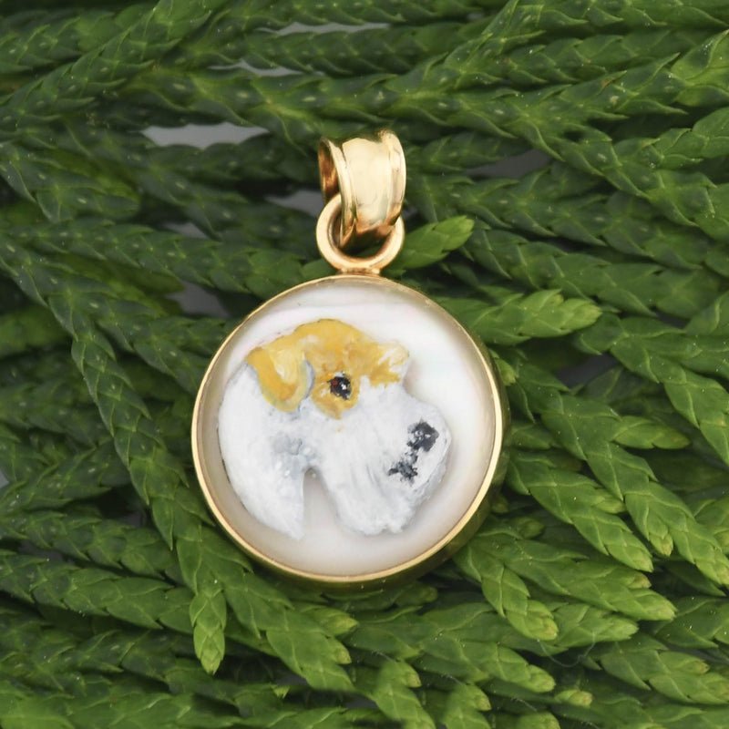 14k Yellow Gold Designer Poliggio Crystal Painted Terrier Dog Pendant