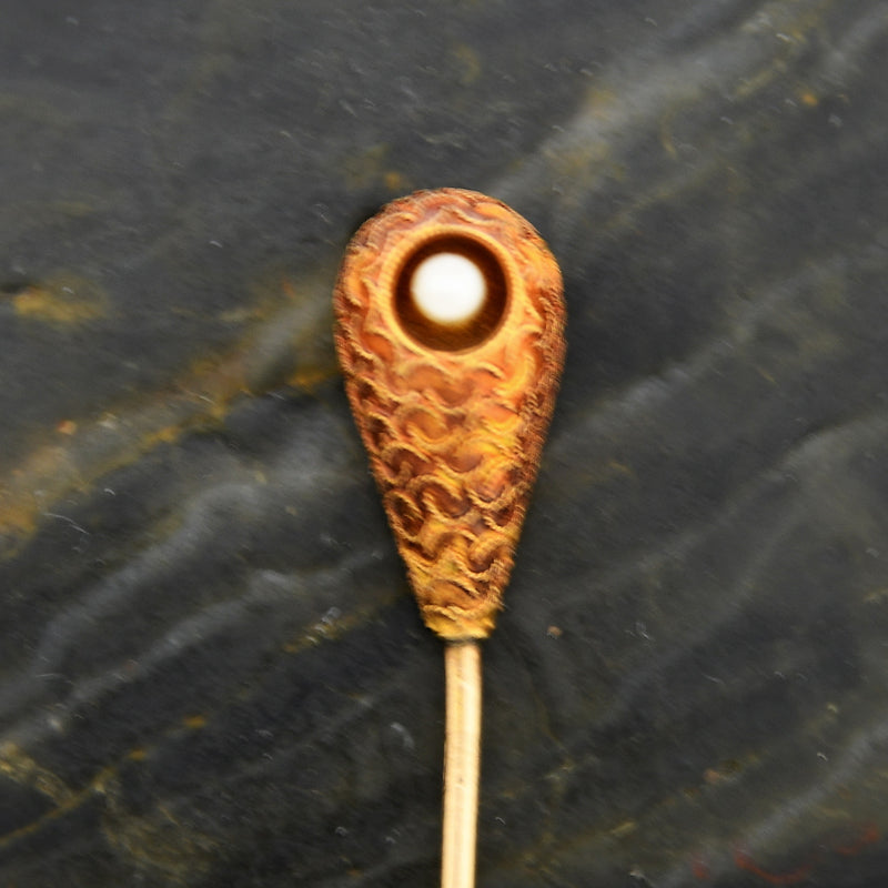 14k Yellow Gold Antique Ornate Pearl Stick Pin