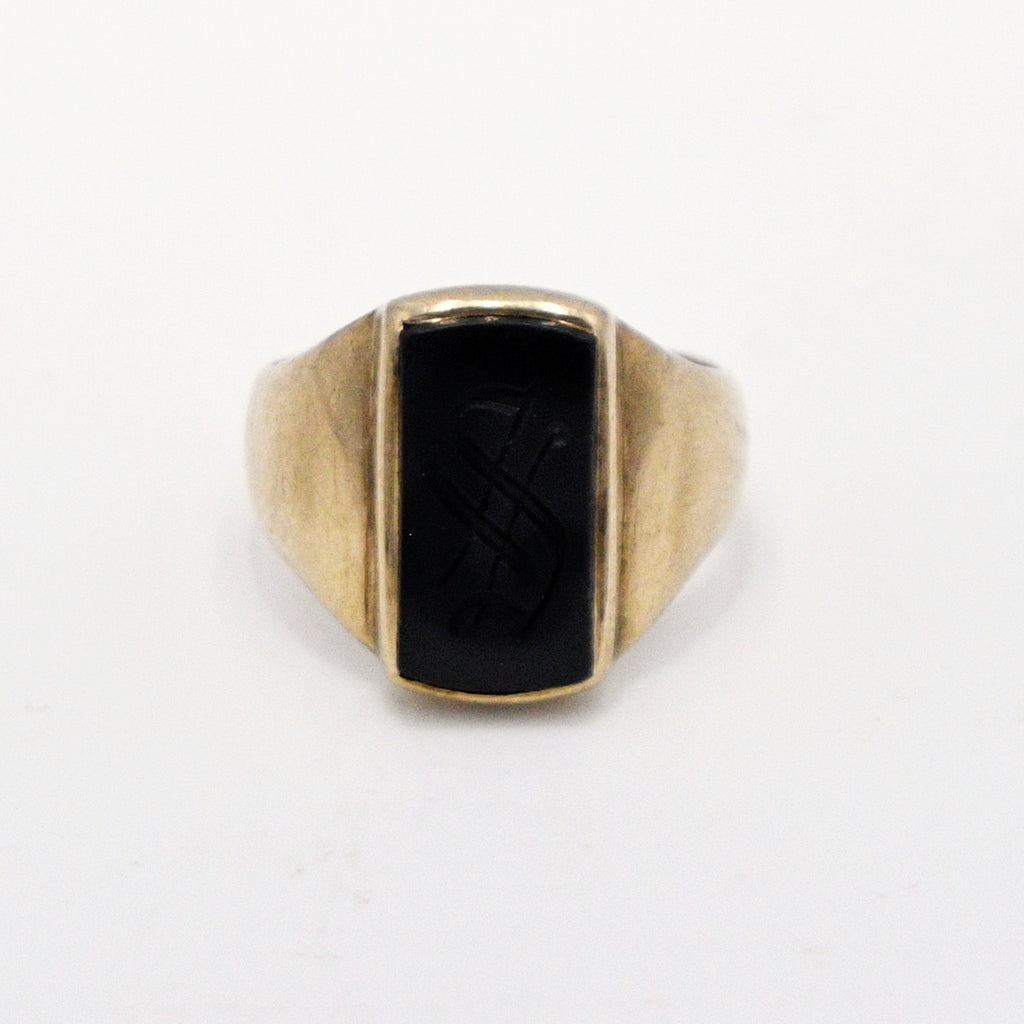 10k Yellow Gold Antique Black Onyx Initial/Letter S Ring Size 3