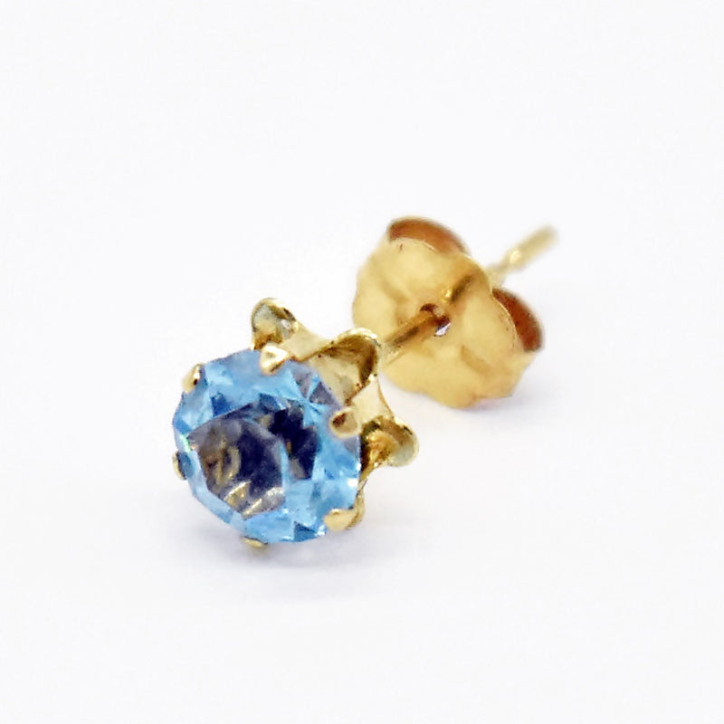 14k Yellow Gold Estate Blue Gemstone Single Post Earring