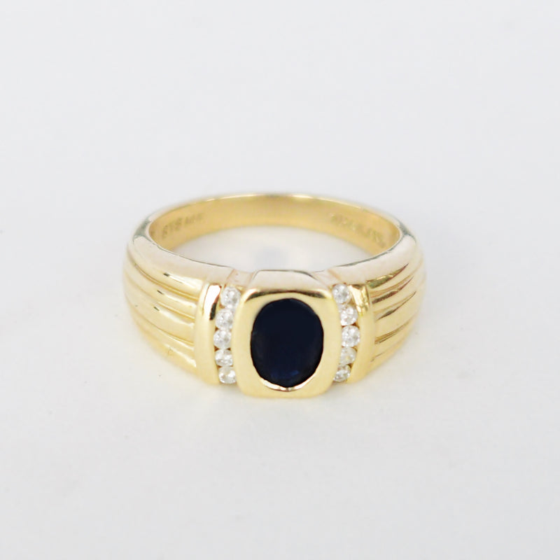 14k Yellow Gold Designer STS Oval Sapphire Gem & Diamond Ring Size 7