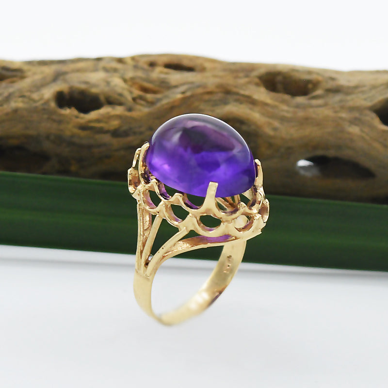 14k Yellow Gold Estate Open Work Cabochon Amethyst Ring Size 6