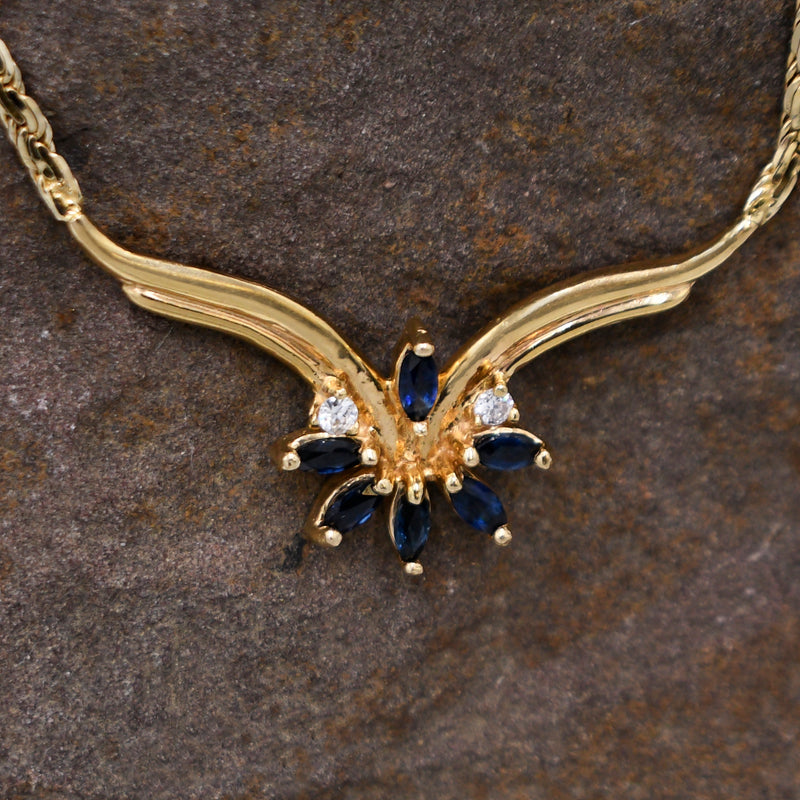 "14k Yellow Gold Estate Sapphire & Diamond Choker Necklace 15 1/2"" Long"