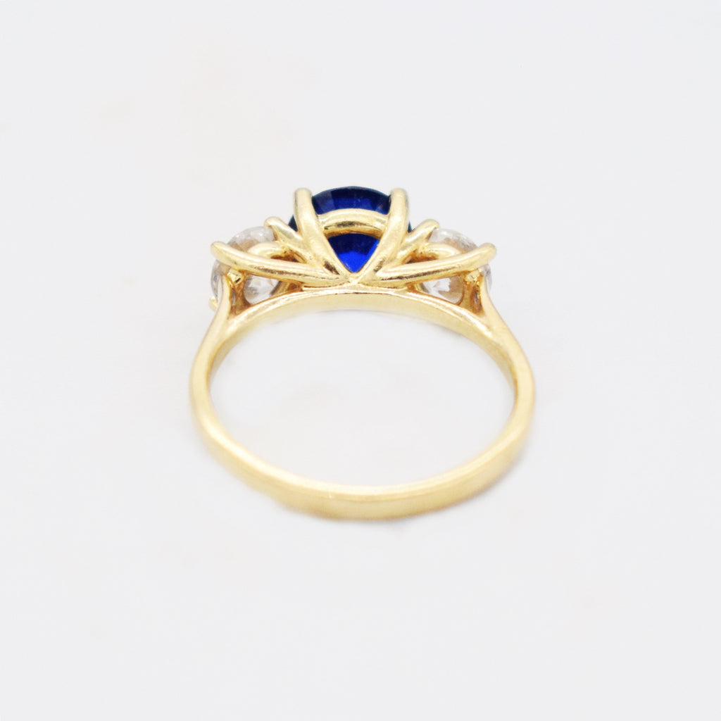 14k Yellow Gold Estate Blue Spinel & CZ Tier Ring Size 7.25