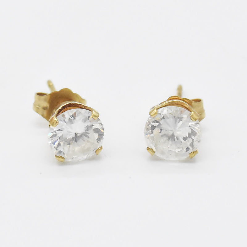 14k Yellow Gold Estate CZ/Cubic Zirconia Studs/Stud Earrings