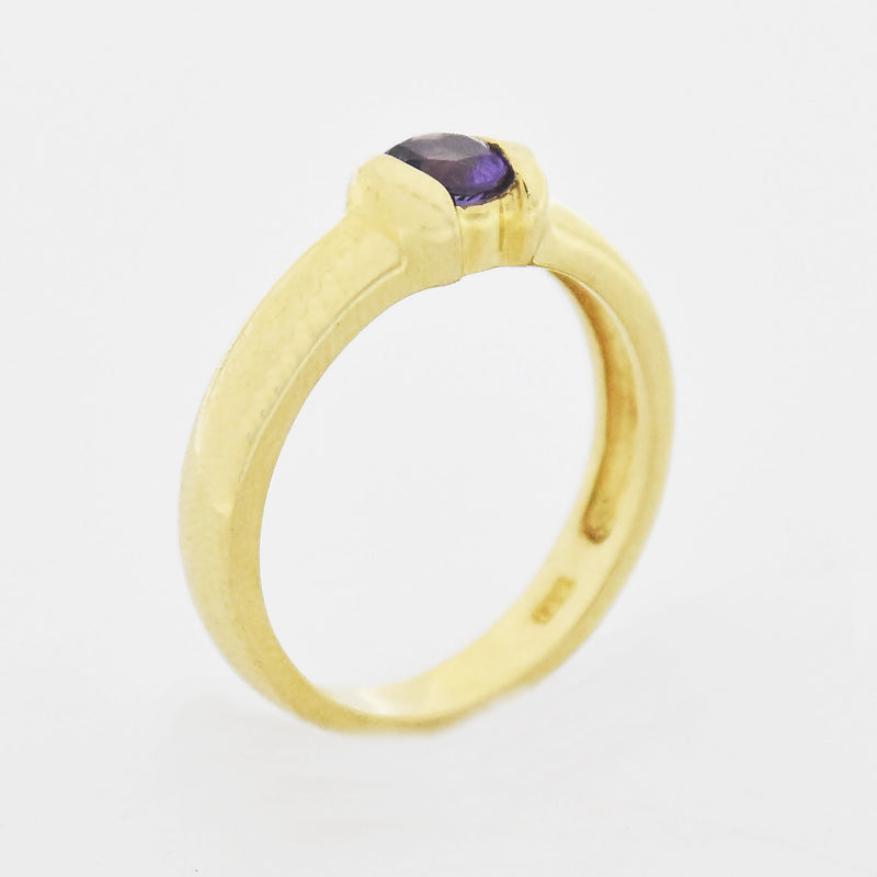 14k Yellow Gold Estate Amethyst Ring Size 6.75
