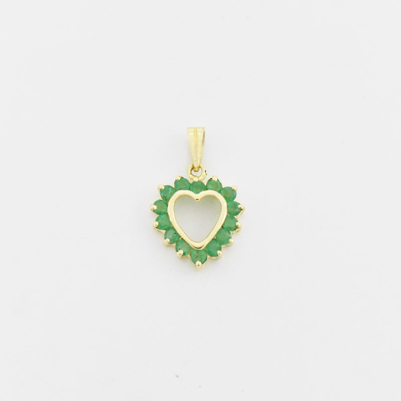 14k Yellow Gold Estate Emerald Open Heart Pendant