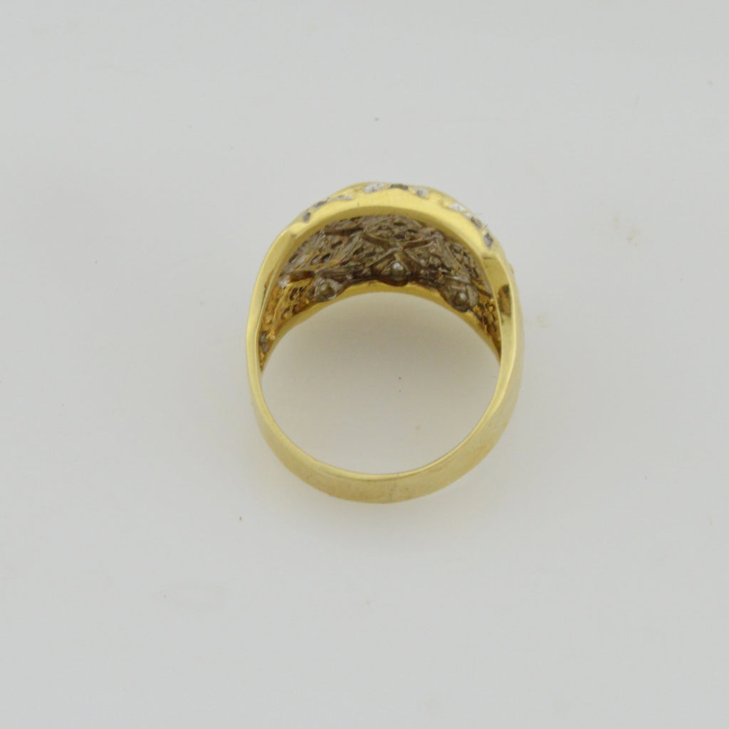 14k Yellow Gold Estate Wide Diamond Ring Size 10