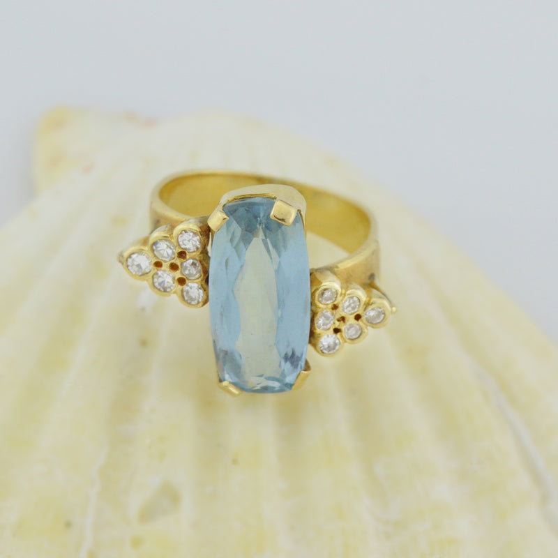 14k Yellow Gold Estate Light Blue Topaz & Diamond Multistone Ring Size 5.25