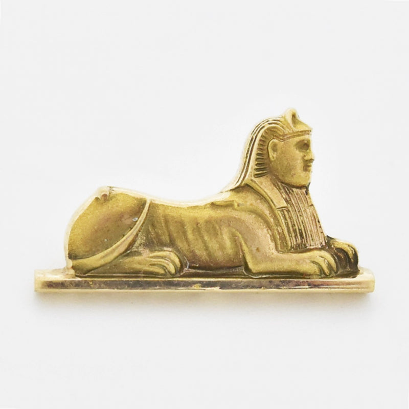 10k Yellow Gold Vintage Carved Sphinx Pin
