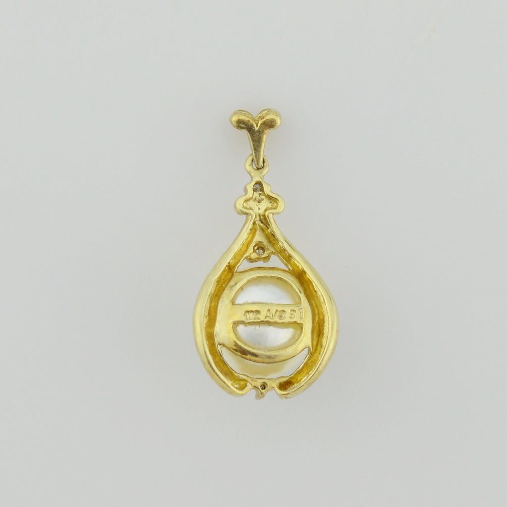 10k Yellow Gold Estate Pearl & Diamond Pendant